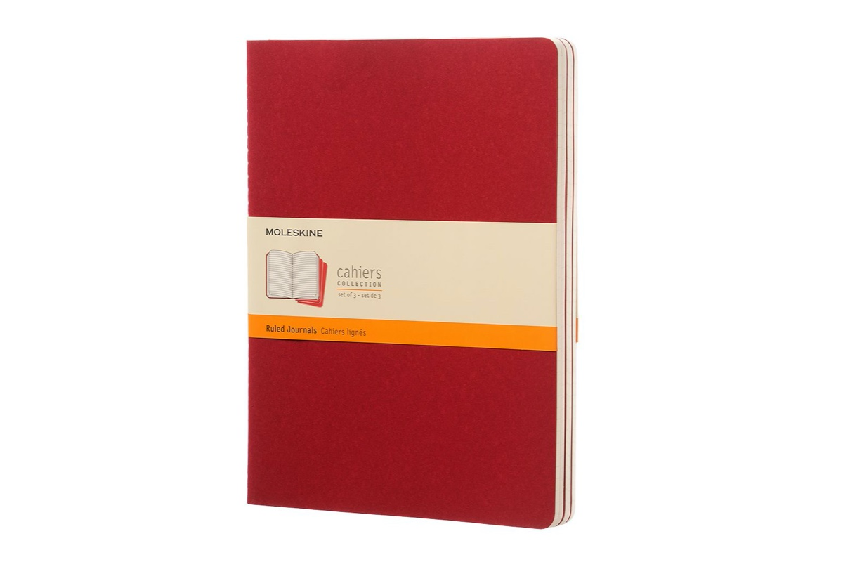 Moleskine Cahier Ruled Notebook XL Cranberry Red