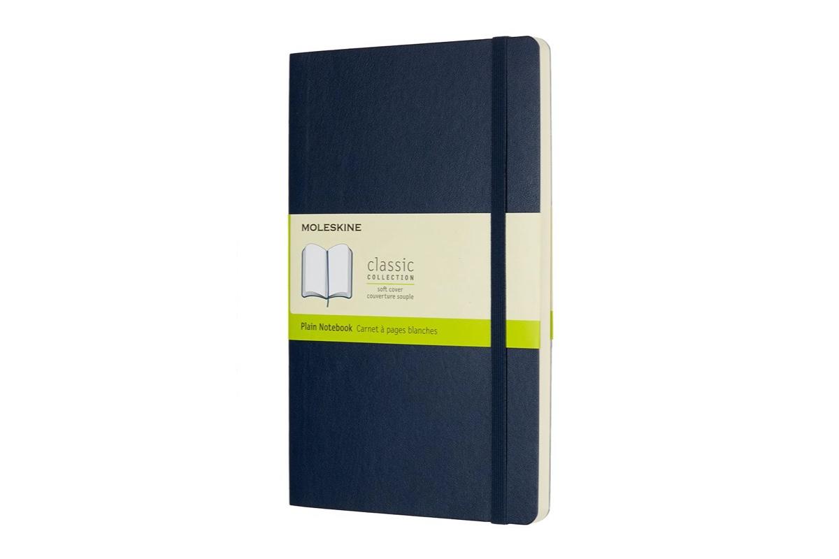 Moleskine Plain Soft Cover Notebook Large Sapphire Blue
