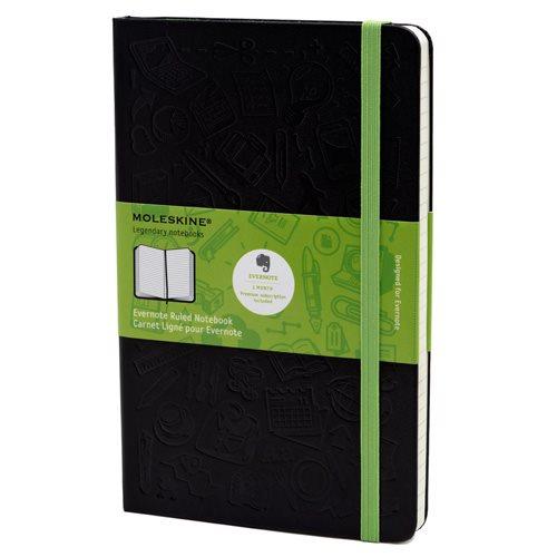 Moleskine Ruled Evernote Notebook Large Hard Cover Black