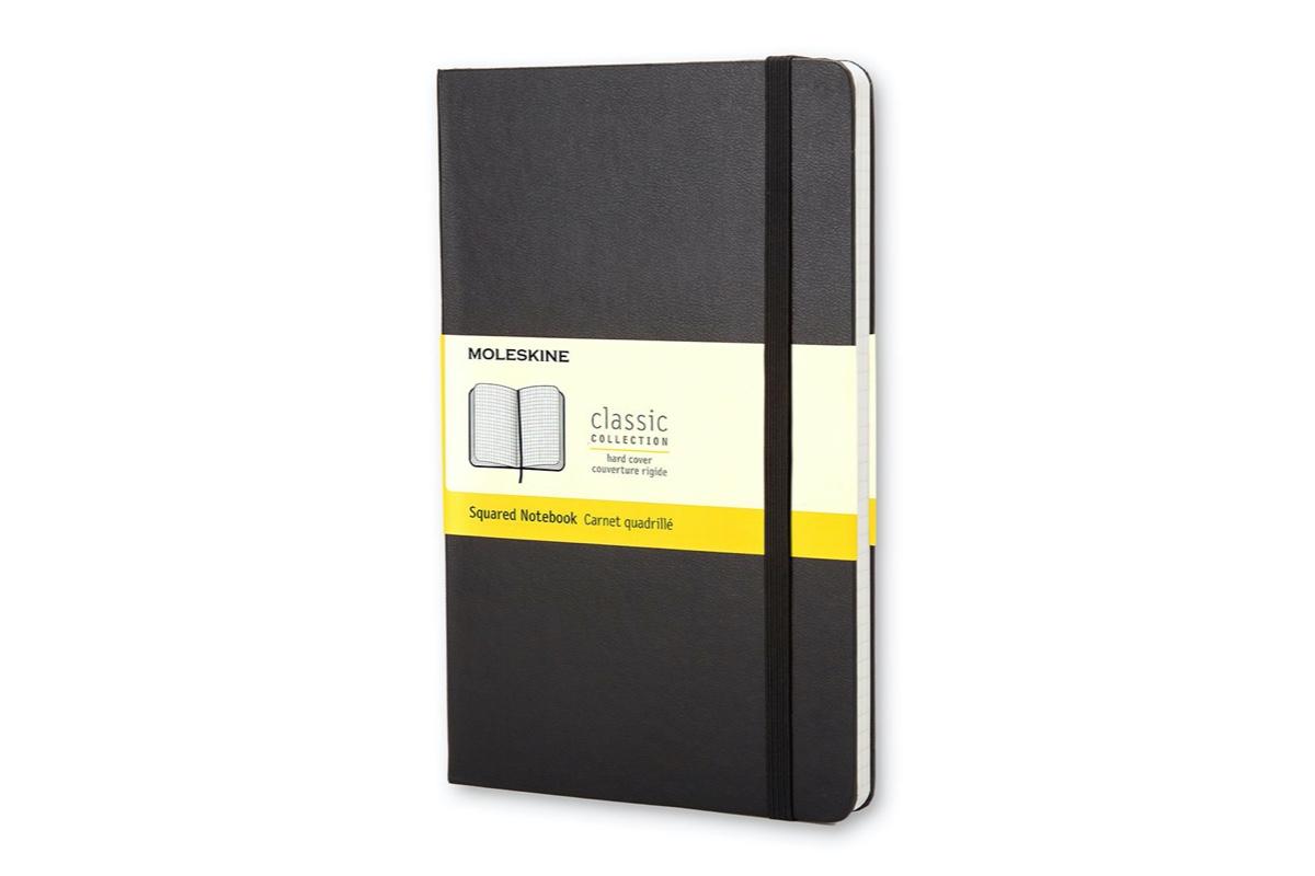 Geruit notitieboek Moleskine zwart