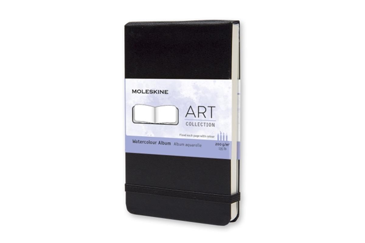 Moleskine Watercolour Notebook Hard Cover Pocket Black liggend/reporter